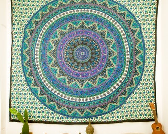 Mandala Tapestries Wall Hanging, Large Tapestry, Bohemian Wall Throw, Yoga Studio Decor, Hippie Room
