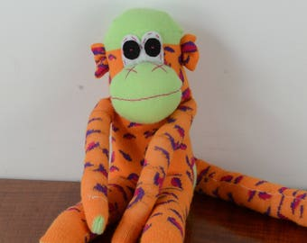Leopard Print Sock Monkey, Sock monkey doll, kids soft toy, stuffed Animal