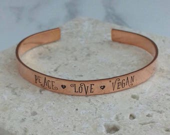 Peace Love Vegan bracelet - adjustable - handstamped - aluminium, copper, brass or sterling silver