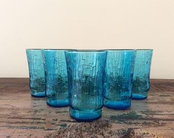 Set of 6 Vintage 1960s Anchor Hocking Laser Blue Pagoda Flat Tumblers | 5 oz. Juice Drinking Glasses - Mid-Century Barware