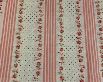 Cranston Print Works Fabric Pink Red Roses Stripes Schwartz Liebman