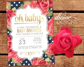 Oh Baby - Floral Baby Shower Invitation - Personalized Digital Printable or Prints! - Fast Turnaround - Faux Foil Baby Shower Invite - Navy