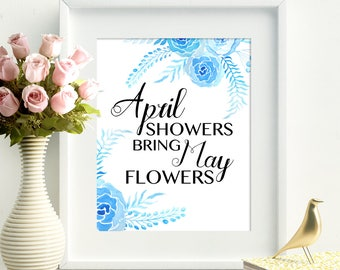 April Showers Bring May Flowers Easter Art Print Easter Wall Art Spring Art Print Spring Wall Art Easter Poster Home Decor