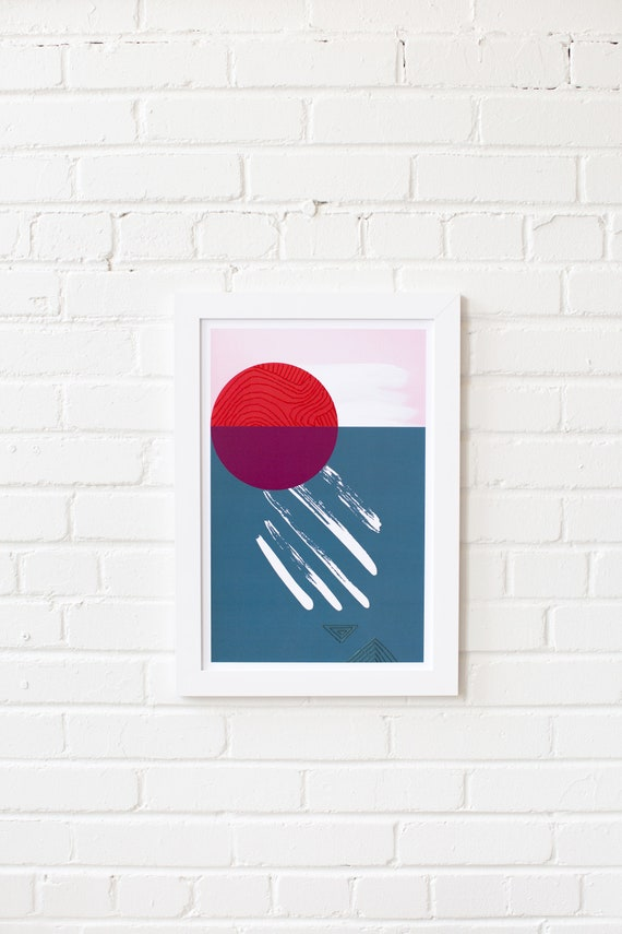 Meeting Point-01 //  LIMITED EDITION // 12x18, Minimalist embroidered poster, mid-century inspiration, geometric shapes, orange, purple