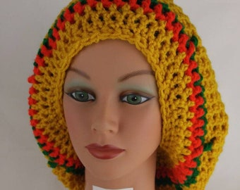 Accessories, Handmade Large crochet slouchy, rasta hat, Gold, green, red