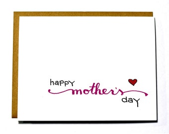 Sweet Mother's Day card, calligraphy, pink, red