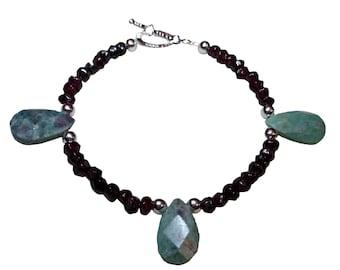 Ruby Ziosite Gemstone Teardrop Beaded bracelet with Garnet gemstone beads Silver accents Toggle clasp