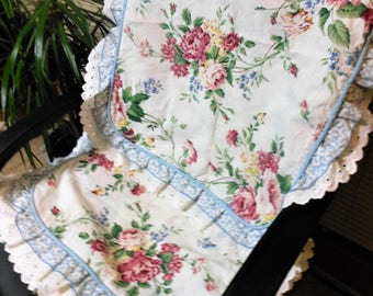 Waverly Pillow Shams, Two, Pink Roses, REDUCED