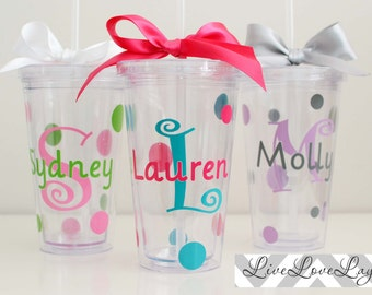 Personalized Monogrammed Acrylic Tumbler 16 oz. with Straw