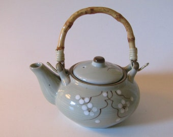 Japanese Import Porcelain Teapot With Bamboo Handle