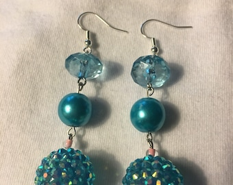 Blue and Iridescent beads dangle  earrings