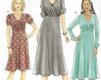 Womens Empire Waist Dress with Sleeve Variations Vogue Sewing Pattern V8471 Size 6 8 10 12 Bust 30 1/2 to 34 UnCut Stretch Knits Only