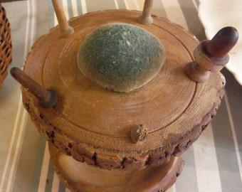 Vintage Wooden Pedestal Thimble/Bobbin/ Thread Spool Holder/ Pin Cushion