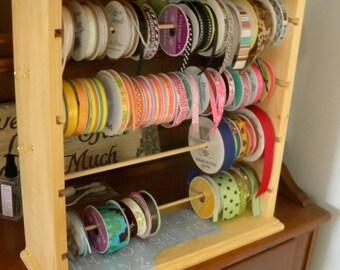 Ribbon rack organizer for 4'' spools natural