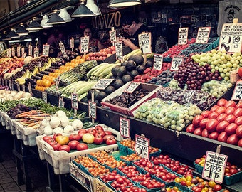 Food Image, Seattle Photo, Pike Place Market, Vegetable Stand, sizes 5x7 to 12x18