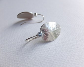 Silver leaf earrings with aquamarines