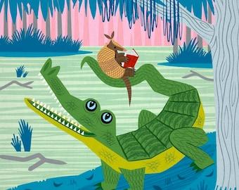 The Alligator and The Armadillo - Animal illustration - Children's Decor - Nursery Art - Children's Poster - Ltd Edition Art Print - iOTA