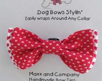 Dog Bow Tie - Valentine Dog Bow Tie - Hearts Bow Tie  - Small Dog Bow - Cat Bow Tie - Dog Bowtie - Dog Bow