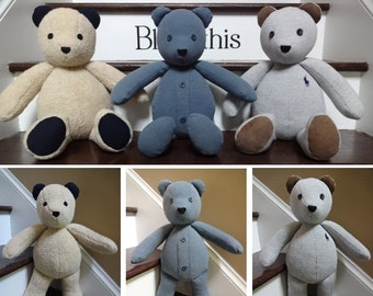 "18"" Memory Bear / Keepsake Bear from Adult Clothes **PLEASE Read the Item Details of the Listing for Information Needed for Ordering**"