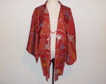 Antique haori - Origami crane, Faded red, Prewar