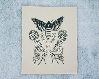 Ivory Moth Tooth Sew On Punk Patch