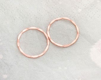 2 of 925 Sterling Silver Rose Gold Vermeil Style Hammered Circle Closed Rings 18mm.   :pg0609