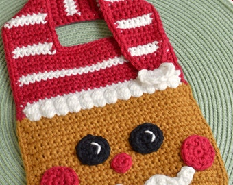 Crochet pattern Gingerbread Baby Bib Drool Bib Spit Bib Burp Bib Food Bib for Christmas babies and toddlers shower gift INSTANT pdf DOWNLOAD