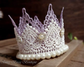 Lavender-Ivory Lace Crown, Double Layers lace crown, New Born Crown Photo Prop, Princess Lace Crown, Baby Showers Gift, Handmade Lace Crown