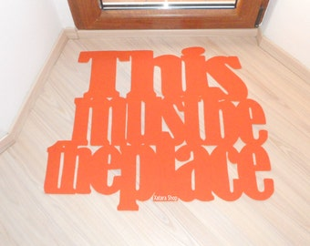 This must be the place, design floor mat. Personalized welcome mat. Decoration room entrance