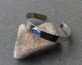 Sea glass jewelry, Bezel set blue sea glass and sterling silver bangle cuff bracelet