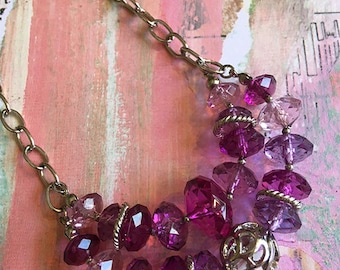 Layered Purple Bead Necklace, Layered Necklace, Layered Choker, Purple Necklace, Beaded Necklace, Purple Jewelry, Mothers Day Gift