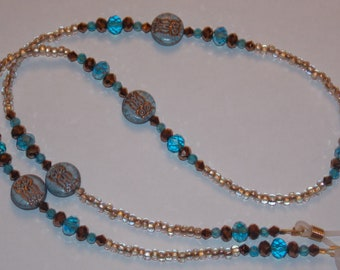 Blue and Copper Owl Lampwork Beads Copper Crystals Copper Lined Clear Seed Bead Eyeglass Holder Chain