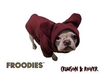 French Bulldog Boston Terrier Pug Dog Froodies Hoodies Maroon Fleece Sweatshirt Jacket Coat