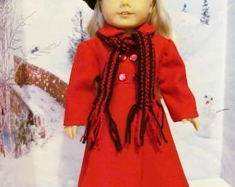 Wool Coat, Knit Hat and Scarf, Winter Coat, 18 inch Doll Coat