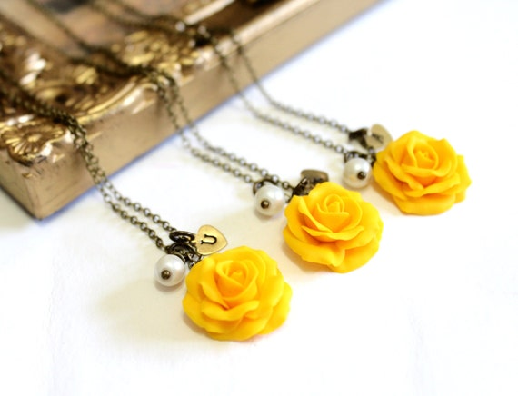 Set of 3 4 yellow rose necklaceyellow pendantpersonalized mozeypictures Image collections