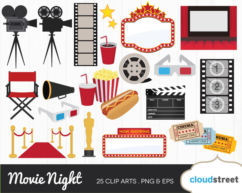 buy 2 get 1 free movie award clipart movie night clipart rh etsy com movie night clip art free outdoor movie night clip art