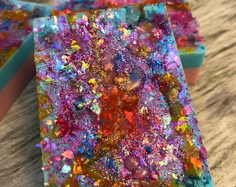 soap, unicorn soap,hand made soap, homemade soap, glitter soap, shower power soap, fun soap, soap in handmade, PRE-ORDER, pink and blue soap