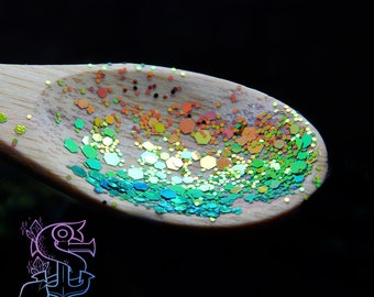 "Tiny Glitter mix color shifting iridescent ""Snakeskin"" 10gr, nail art, nail gel, nail acrylic, UV resin, resin supplies."