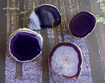 Small Medium 18K Gold Edge Custom Eggplant Purple Agate Slice Drawer Pulls Knobs
