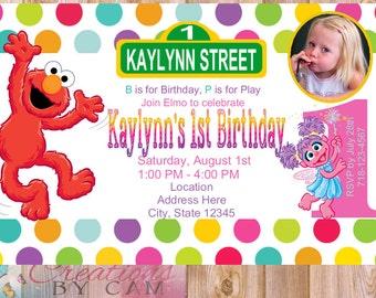 Elmo & Abby Cadabby Birthday Invitation, Elmo Birthday, Abby Birthday, Abby Cadabby Birthday, Elmo Invitation, Abby Invitation
