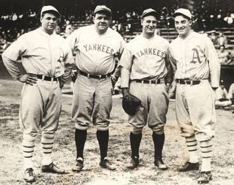 Jimmie Foxx, Babe Ruth, Lou Gehrig and Al Simmons 1929 Yankees all star baseball photo print yankees fine art picture print photo vintage