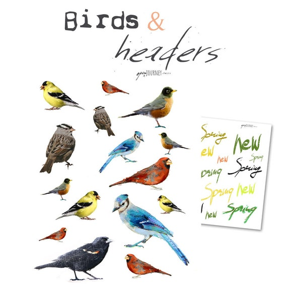 Birds and headers - digital download for bible journaling, card making and craft