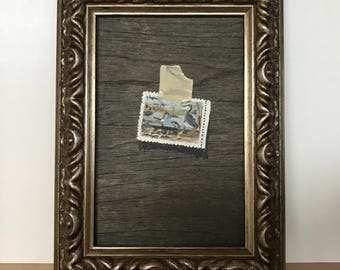 """Original Stamp Painting """"#5 in a Commemorative Set"""" Oil on Wood in a 4x6 Frame Trompe L'Oeil Painting"""