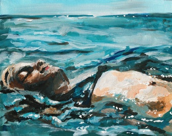 Ocean Art Print, Beach Home Decor, Seaside Art, Figure painting, 8 x 10 inches