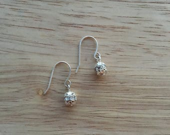A lovely pair of round disco ball silver drop earrings