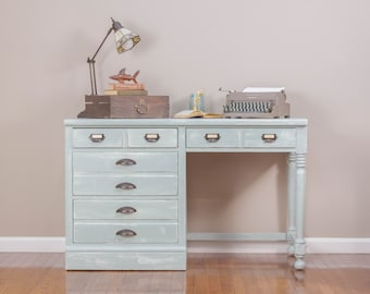 ITEM IS SOLD - Sage Coastal Cottage 4-Drawer Desk