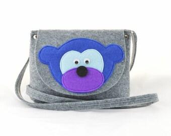 Girl's Purse, Child's Bag, Kids purse, felt bag, felt purse handbag cross body grey with monkey ape at