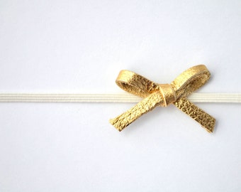 Tiny Dainty Gold Metallic Leather Bow Headband Glitter Bow Photo Prop Headband for Newborn Baby Little Girl Child Spring Summer little bow