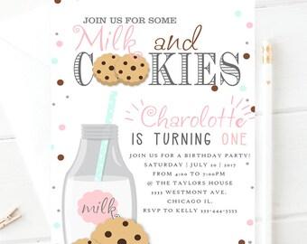 Milk and cookies birthday invitation, cookie party invitations, girl birthday or boy birthday, Milk and cookies birthday invitation, cookies
