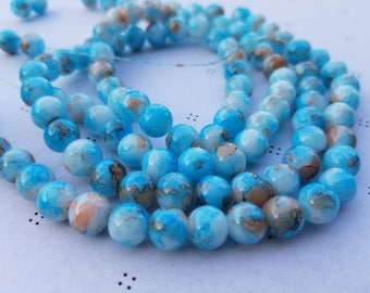 Blue Marble Glass Beads 8mm round full strand